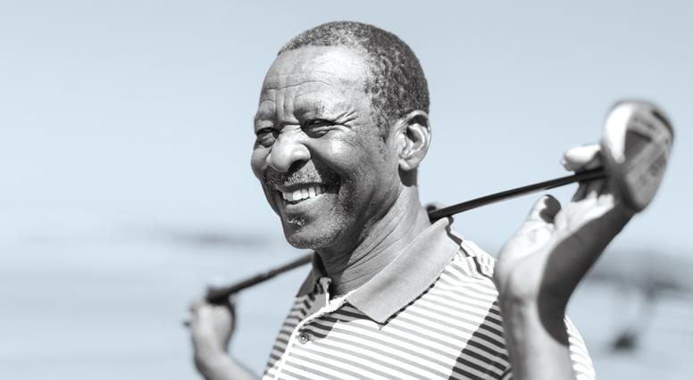 Retired man with a golf club