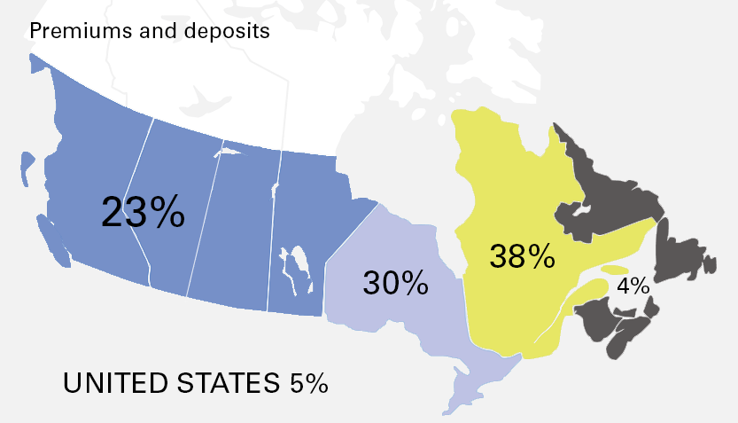 Geographic distribution of investments by asset category