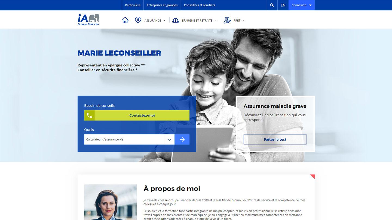 Modèle de page web pour un conseiller
