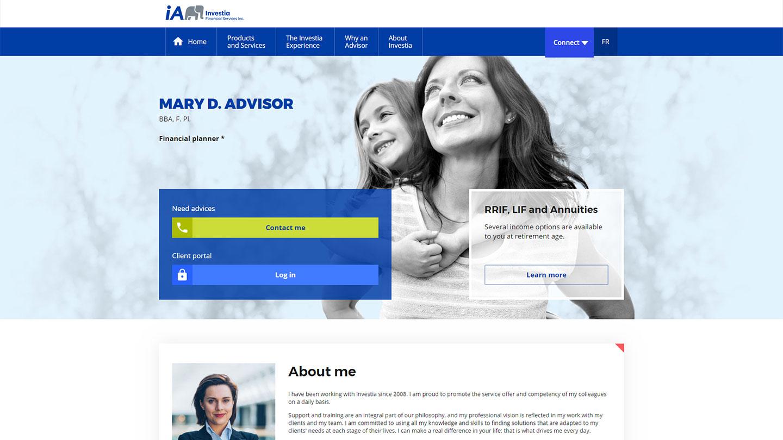 Advisor web page template